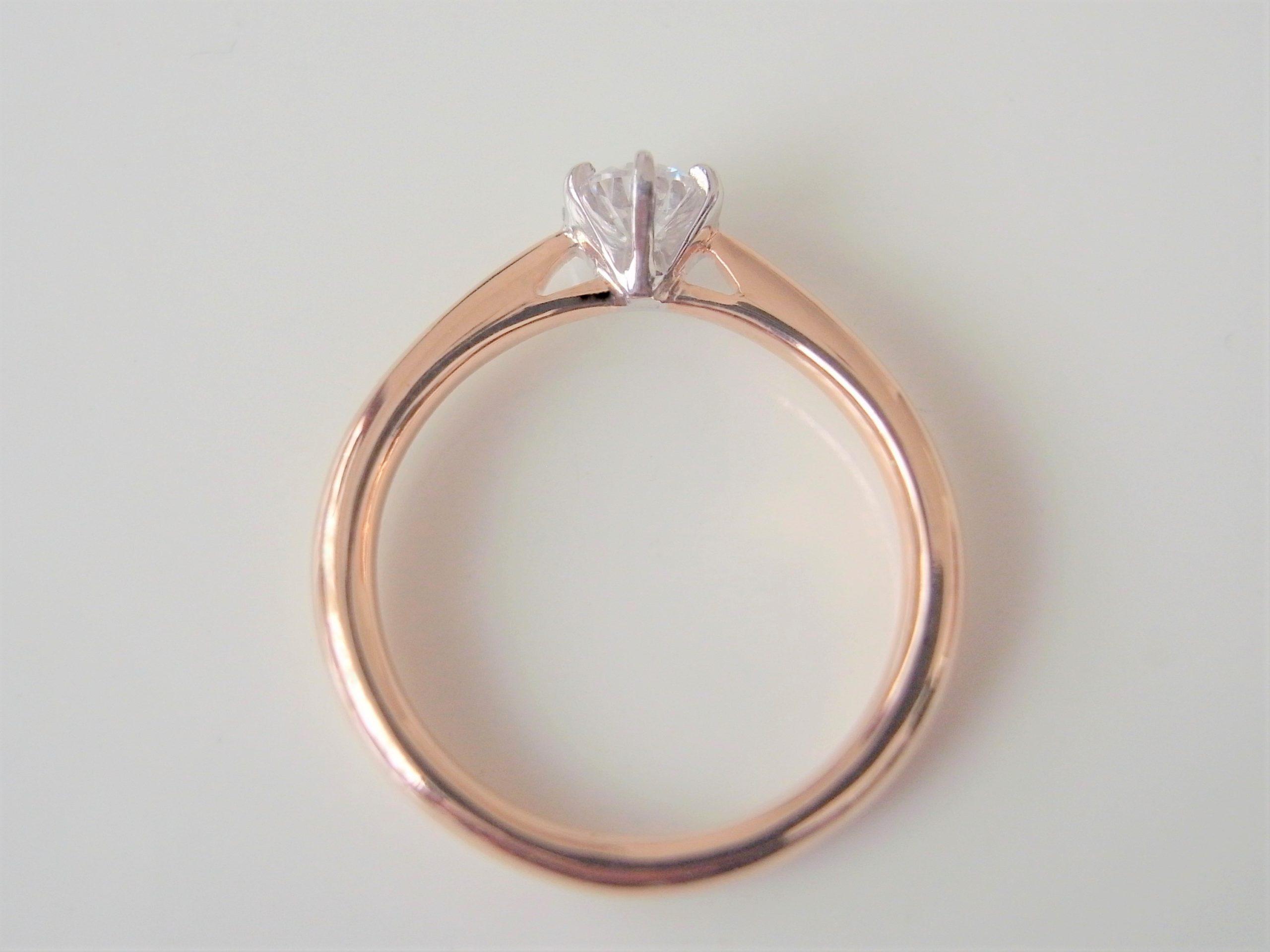 結婚指輪・婚約指輪のコンビカラーの指輪側面