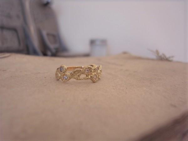 18金で作った月桂樹デザインの指輪