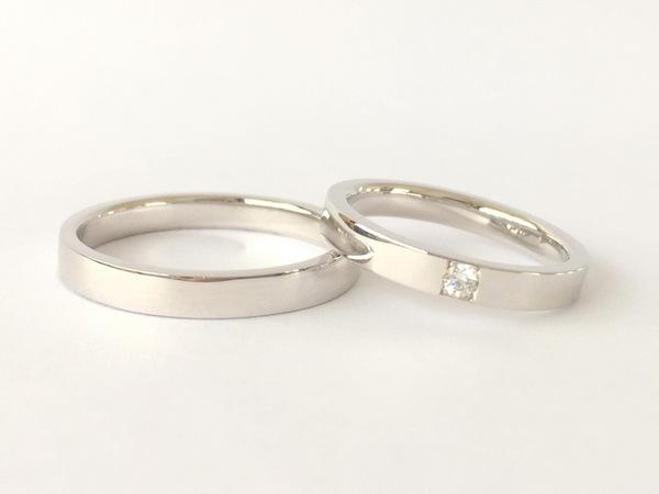 プラチナのダイヤモンド入り結婚指輪