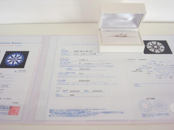 ダイアモンド鑑定書とプラチナの指輪