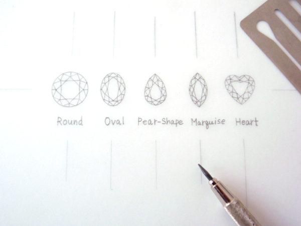 ダイヤモンドのカット5種類のデザイン画