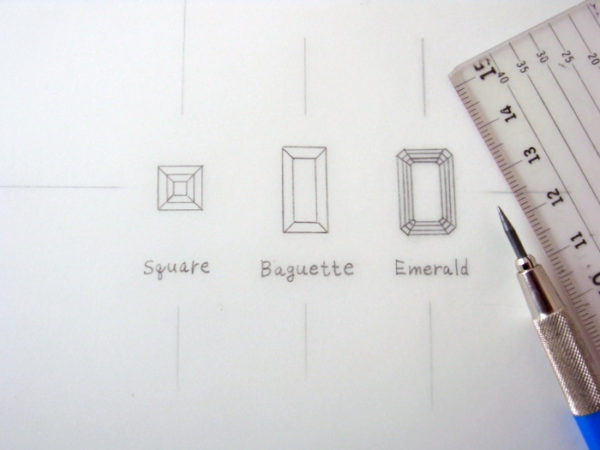 ダイヤモンドのカット3種類のデザイン画