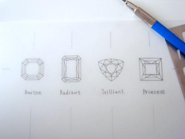 ダイヤモンドカット4種類のデザイン画