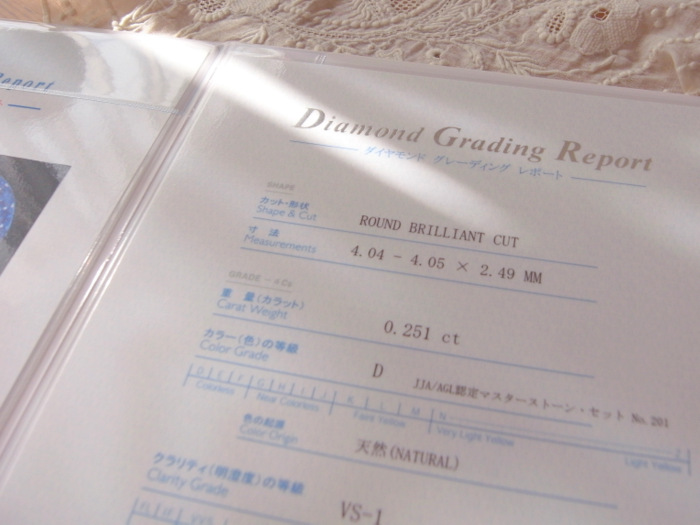 ダイヤモンドの鑑定書の画像